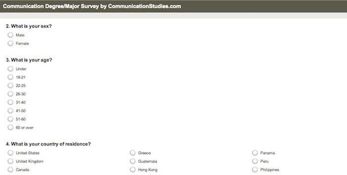 communication degree survey screenshot