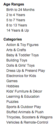Amazon Gendered Toy Categories