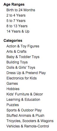 Amazon Gendered Toy Categories